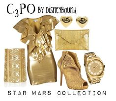 """c3po"" by leslieakay ❤ liked on Polyvore featuring JULIA CLANCEY, Alexander McQueen, Michael Kors, Mallarino, Juicy Couture, women's clothing, women, female, woman and misses"