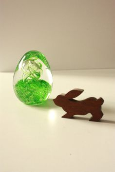 Green Glass Egg Paper Weight by TriBecasVintage on Etsy, $20.00