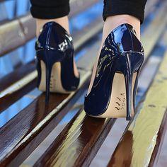 Lacivert Klasik Topuklu Ayakkabı - Ayakkabı Çanta Dükkanı