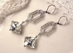 1920 Flapper Rhinestone Dangle Earrings Crystal Antique Silver Bridal Earrings Art Deco 20s Great Gatsby Downton Abbey Long Bridesmaid Gifts by AmoreTreasure on Etsy https://www.etsy.com/listing/178843819/1920-flapper-rhinestone-dangle-earrings