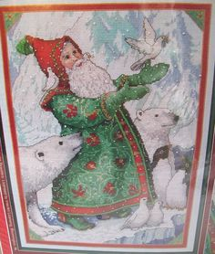 SOLD  Counted Cross Stitch Kit Christmas Traditions Santa with Doves 359837 Holiday  #HolidayTime #Frame