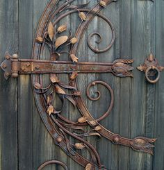 Ornate hinge on a door.  The rust and the weathered grey are so complementary.