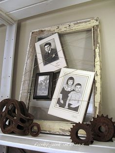 Take an old frame and wrap around in no particular order thick wire.  Weave in mini frames into the wire.