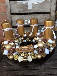Advent wreath centerpiece diy craft white brown gold  bow candles