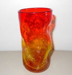 Blenko pinched tumbler Tangerine Amberina blown art glass crackle vintage