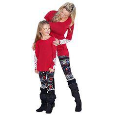 HYIRI Christmas Mommy &Me Women Deer Star Warm Print Pants Family Leggings Pencil Clothes Print Pants, Mommy And Me, Deer, Merry Christmas, Pencil, Punk, Leggings, Warm, Clothes