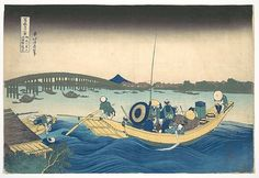 Katsushika Hokusai | Viewing the Sunset over Ryōgoku Bridge from the Onmaya Embankment (Onmayagashi yori Ryōgokubashi sekiyō o miru), from the series Thirty-six Views of Mount Fuji (Fugaku sanjūrokkei) | Japan | Edo period (1615–1868) | The Met