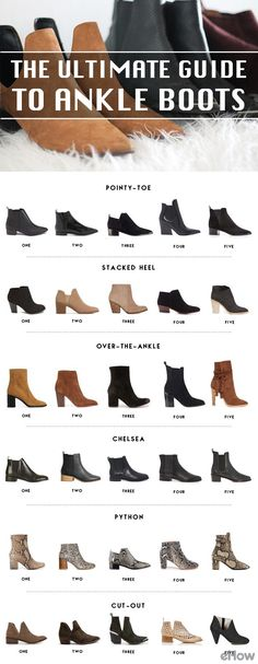 Ankle boots for every occasion! Take a look at this ultimate chic guide to ankle boots: http://www.ehow.com/how_12343514_ultimate-guide-ankle-boots.html?utm_source=pinterest.com&utm_medium=referral&utm_content=freestyle&utm_campaign=fanpage