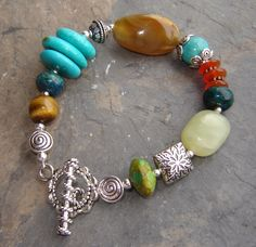 Earth and Sky bracelet by pumpkinhollowcreatns on Etsy, $28.00 ~ I Like The Toggle Clasp & How The Ends Were Finished ~