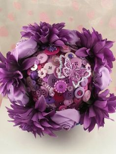 purple button bouquet