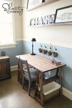 For my craft area. {Ana White   Build a 1x3 Sawhorse Desk   Free and Easy DIY Project and Furniture Plans}