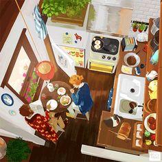 素敵な世界観。どことなく宮崎駿作品を彷彿とさせる暖かく静かなGifアニメーション