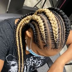 Conrows, Colored Braids, Finger Waves, Black Girls Hairstyles, Color Stripes, Weave Hairstyles, Dreadlocks, Ear, Tattoo
