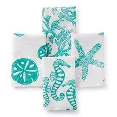block print sealife towels at Tuvalu Home Furnishings in Laguna Beach Coastal Beach Decor Coastal Beach House Furniture Coastal Cottage Decor Nautical Accessories Vintage Coastal Beach Decor Furnishings Seashell Accessories