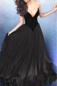 Black chiffon v-neck sweetheart A-line long prom dresses,evening dress for teens,sexy homecoming dress