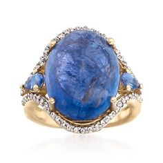 11.55 ct. t.w. Tanzanite and .30 ct. t.w. White Topaz Cocktail Ring in 14kt Gold Over Sterling