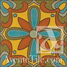 "Malibu Tile - Piuma A 6"" x 6"" Hand Painted Ceramic Tile #yellow"