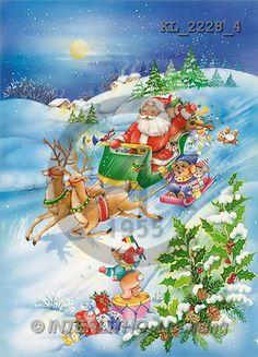 Interlitho, Michele, CHRISTMAS SANTA, SNOWMAN, paintings, santa, sleigh, reindeer(KL2228/4,#X#) Weihnachtsmänner, Schneemänner, Weihnachen, Papá Noel, muñecos de nieve, Navidad, illustrations, pinturas