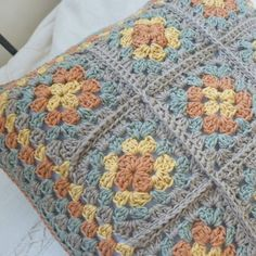 Crochet cushion cover - summer garden