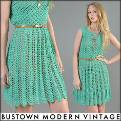 vtg 70s AQUA CROCHET sheer lace scallop cutout hippy boho festival mini dress via bustown modern vintage
