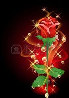 feu d artifice FLEUR: Fond rougeoyant de roses, de la fumée et les étoiles Illustration