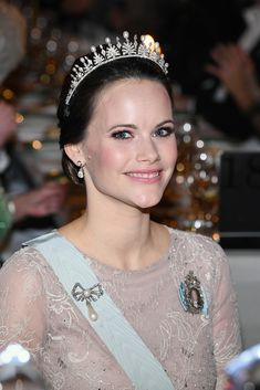 Princess Sofia, wearing her wedding tiara, with the emeralds replaced with pearls