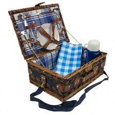 Picknickkorb Picknick Korb Weidenkorb - Geschirr Gläser Besteck Thermokanne