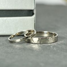 Wedding Band Set, 18K Palladium White Gold, Wedding Rings, 2mm and 4mm Hammered, Sea Babe Jewelry