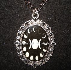 13 Moon Phases Triple Moon Necklace Pendant- border of compass