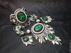 """Купить Комплект """"Ромашковое утро"""". - зелёный, комплект украшений, кулон серьги браслет, кулон с малахитом"""