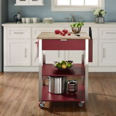 Home Marketplace Crosley Culinary Prep Kitchen Cart - Red Prep Kitchen, Kitchen And Bath, Kitchen Carts, Microwave Cart, Create A Board, Large Drawers, Home Upgrades, Wood Cutting, Kitchen Accessories