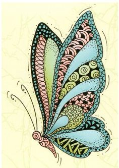 Lea'bilities Clear Stamp - Butterfly  Doodle Stamp by PNWCrafts on Etsy