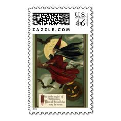 Vintage Halloween Witch Riding a Broom and Moon Postage