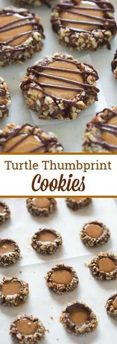 Turtle thumbprint cookies are delicious chocolate cookies, rolled in pecans, filled with melted caramel and drizzled with melted chocolate. via @betrfromscratch