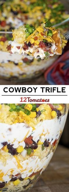 Cowboy Trifle side dish recipe ... Idea is similar to cornbread salad.
