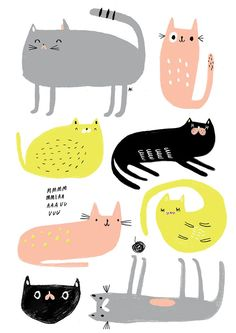 kitty cat print | cat illustration #kitties #catprint #cats #illustration #kidsart