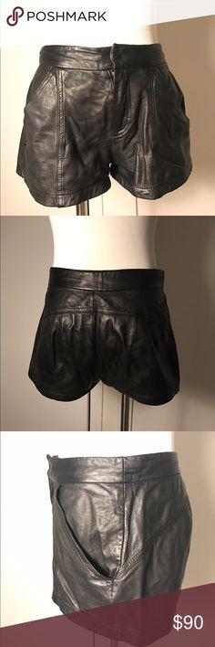 Silence + Noise 100% leather shorts These leather shorts are such a great staple to dress up a casual outfit. They look great day or night. Very soft leather and so comfortable! Being that it's real leather, they do stretch and fit closer to a 2/4 than a 0. There is a very small tear in the side, but it's hardly visible and could also be patched up. silence + noise Shorts