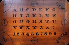 """Espirito W.S. Reed Toy Company Design on wood 1892 Following quickly on the success of the Ouija board was this Espirito board from W.S. Reed Toy Company. Unfortunately, the board only lasted a year. """"We could not compete with the widely-known and wonderful Ouija."""" Reed said, by way of explanation."""