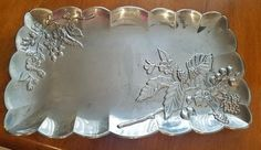 Vintage Lenox Hollow ware Metal Rectangular Tray With Flowers and Berries Silver Trays, Silver Plate, Fine China, Vintage Silver, Floral Design, Berries, Detail, Board, Flowers