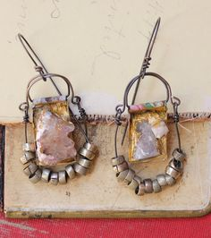 raw geode chunk dangle gold earrings floral tribal by nearlylost, $40.00