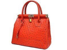 Orange Ostrich Genuine Leather Holdall Handbag with by AnnaAndAari