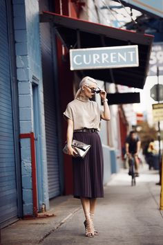 My first outfit from NYFW | street style from New York via Masha Sedgwick | featured brands: Joseph (culotte), By Marlene Birger (shirt), Mulberry (bag) & Fendi (sunnies)