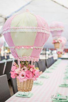 Shabby chic hot air balloon first birthday party #firstbirthday #babygirlbirthday #partyideas