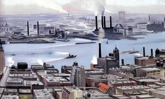 Georgia O'Keeffe, East River from the Story of the Shelton Hotel, Oil on canvas. Selections from the collection of the New Britain Museum of American Art Stephen B Lawrence Fund Wisconsin, Georgia O'keeffe, Columbia, New York Painting, New Britain, O Keeffe, Chicago, Modern Metropolis, Sky And Clouds