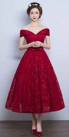 Lace A-line Vintage Burgundy Tea-Length Off-the-Shoulder Prom Dresses