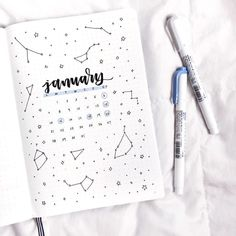 ✨constellation theme for january✨. ✨constellation theme for january✨ bullet journal inspiration, journal ideas Key Bullet Journal, Doodle Bullet Journal, January Bullet Journal, Bullet Journal Cover Page, Bullet Journal Aesthetic, Bullet Journal School, Bullet Journal Spread, Journal Covers, Bullet Journal Yearly Layout