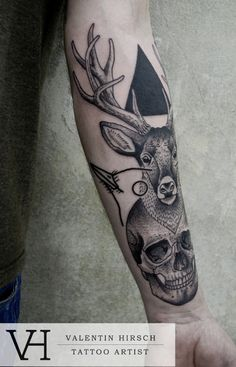 Deer arm tattoo by Valentin Hirsch #tattoos #ink #tatuajes | caferacerpasion.com