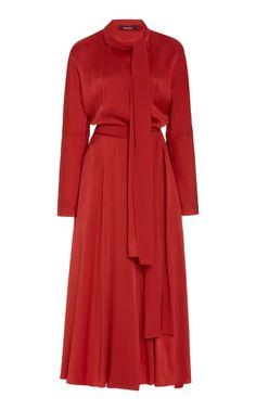 Bea Crepe Satin Tie-Neck Dress by Sies Marjan Elegant Dresses For Women, Stylish Dresses, Cute Dresses, Beautiful Dresses, Elegant Outfit, Classy Dress, Modest Fashion, Fashion Dresses, Fashion Fashion