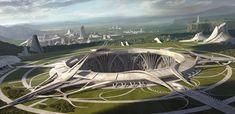 'Temple' by Joon Hyung Ahn, futuristic city, digital art, futuristic architecture Futuristic City, Futuristic Architecture, Gothic Architecture, Concept Architecture, Future Buildings, City Buildings, Concept Art World, Fantasy City, Matte Painting