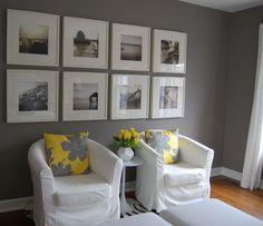 bedrooms - Benjamin Moore - Galveston Gray - Ikea Ribba Frame, Ikea Ektorp Tullsta, Dwell Studio Faceted Vase, yellow and gray room, yellow ...